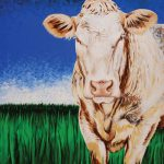 Commissioned acrylic painting of cow